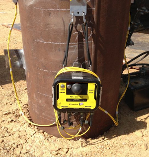 PDR mounted on steel pile for PDA and DLT pile testing