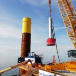 PDA Testing during pile driving of huge monopiles: the PDR is inside the monopiles without data connection, storing all signals and data on the internal memoty of the PDR